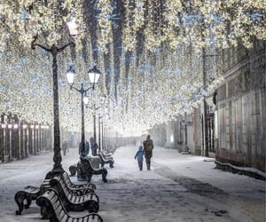 lights, russia, and snow image