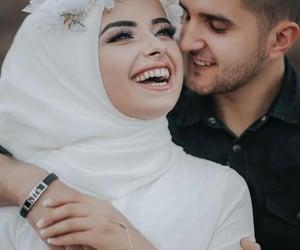 couple, wedding, and hijabi bride image