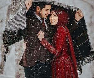 bride, snow, and winter image