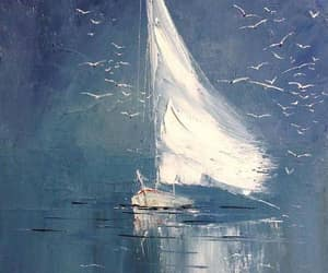 art, boat, and painting image