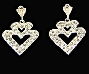 vintage jewelry, silver jewelry, and heart earrings image