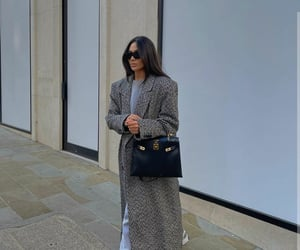 blogger, fashion, and grey coat image