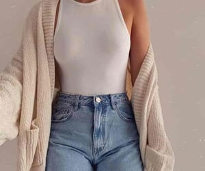 cardigan, high waisted jeans, and top image