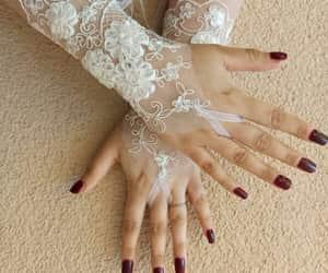 clothing, weddings, and wedding gloves image