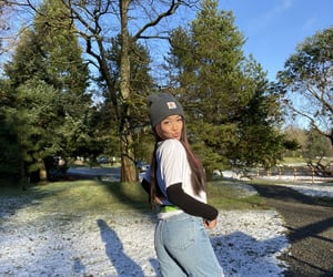 jeans, sneaker, and snow image