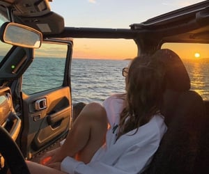 car, girl, and sunset image