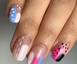 baby pink, black, and blue image