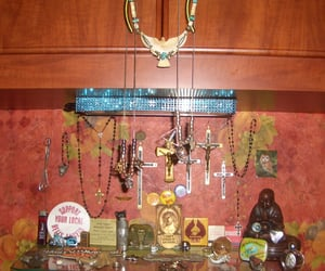 bro calls this the shrine, gazing while i clean, and can u spot danger's head? image
