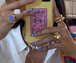 blue, jewelry, and yellow image
