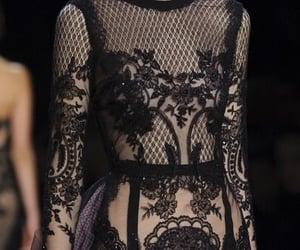 black lace, runway, and dark look image