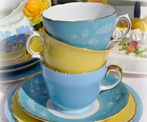 blue, tea, and teacup image