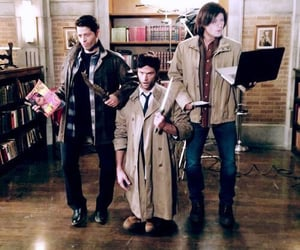 angel, crowley, and dean winchester image
