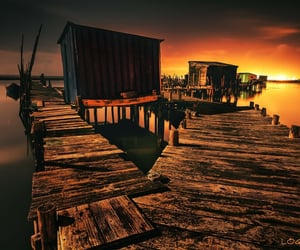crazy, pier, and water image
