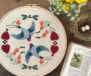 books, embroidery, and spring image