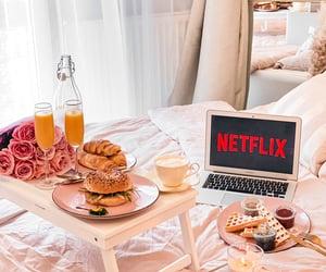 bedroom, coffee, and netflix image