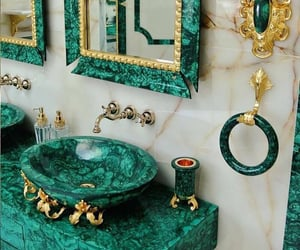 bathroom, green, and mirror image