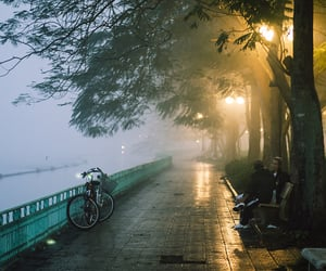 evening, mist, and travel image