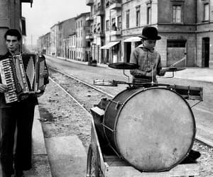 black and white, drums, and hat image