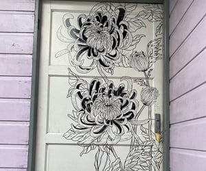 door, flowers, and mural image
