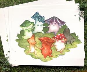 etsy, mushrooms, and mushroom print image