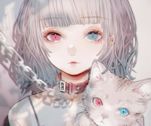 anime, girls, and girl with cat image