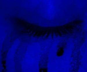 sad, mascara, and blue aesthetic image
