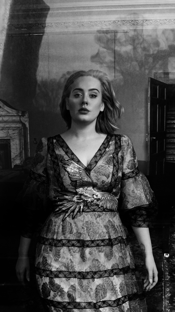Adele and black and white image