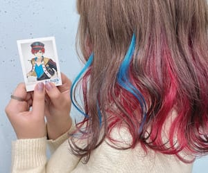 blue, blue and pink, and dirty blonde image