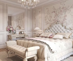 baby pink, bed, and beige image