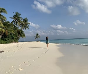 beach, landscape, and Maldives image