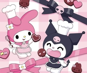 kuromi, my melody, and pink image
