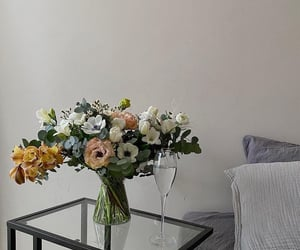bed, bouquet, and decoration image