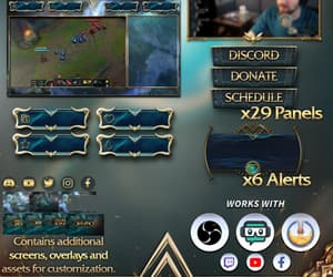 twitch overlay, twitch panels, and league of legends image