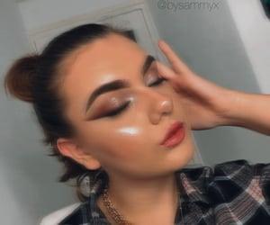 brunette, cat eyes, and lipstick image