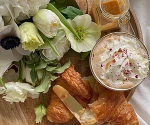 croissant, flowers, and food image