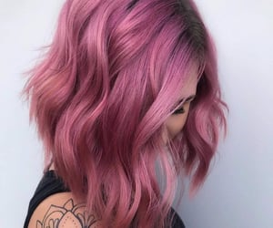 attractive, pink, and hair image