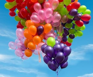 balloons, colours, and girly image
