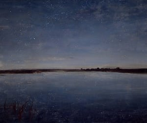 night, painting, and sky image