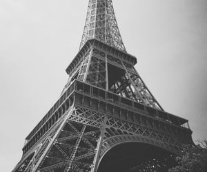 black and white, city, and eiffel tower image