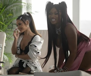 ariana grande, megan thee stallion, and positions image