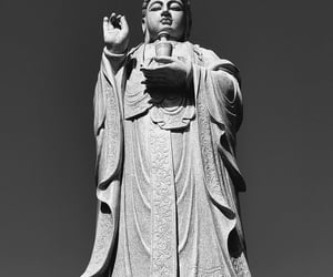 black and white and statue image