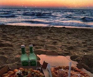 beach, date, and pizza image