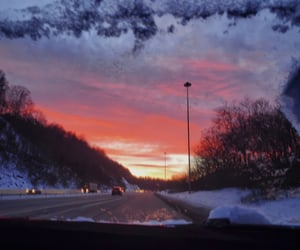 sunset, winter, and roadtrip image