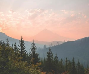 calm, mountain, and pink sky image