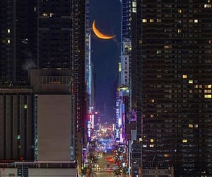 city, moon, and lights image
