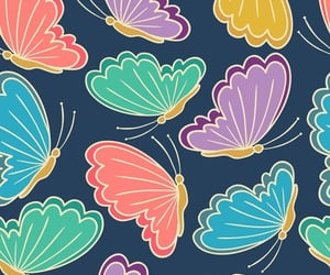 background, blue, and butterflies image