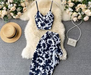 floral, spring, and dress image