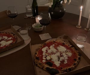 dinner, pizza, and tasty image