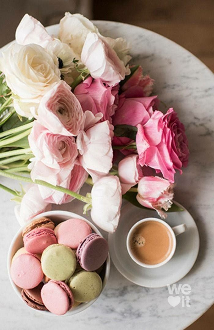 coffee, flowers, and macarons image