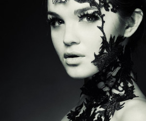 lace, girl, and black and white image